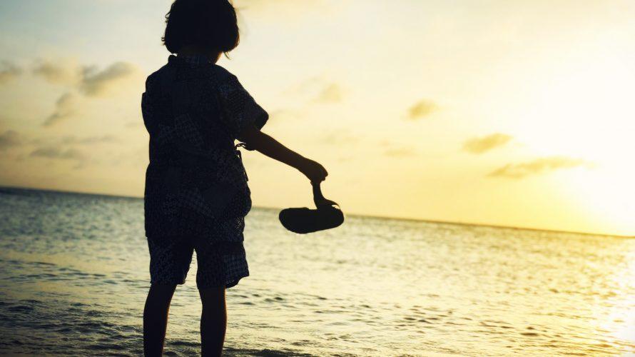 ぎのわんトロピカルビーチのサンセットに黄昏れて
